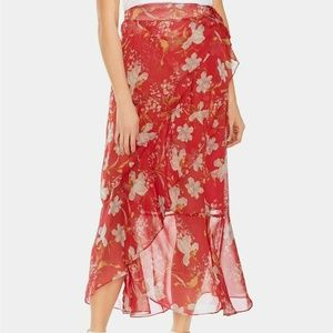 Vince Camuto Skirt Red Floral Wrap Midi Sz 12 NEW